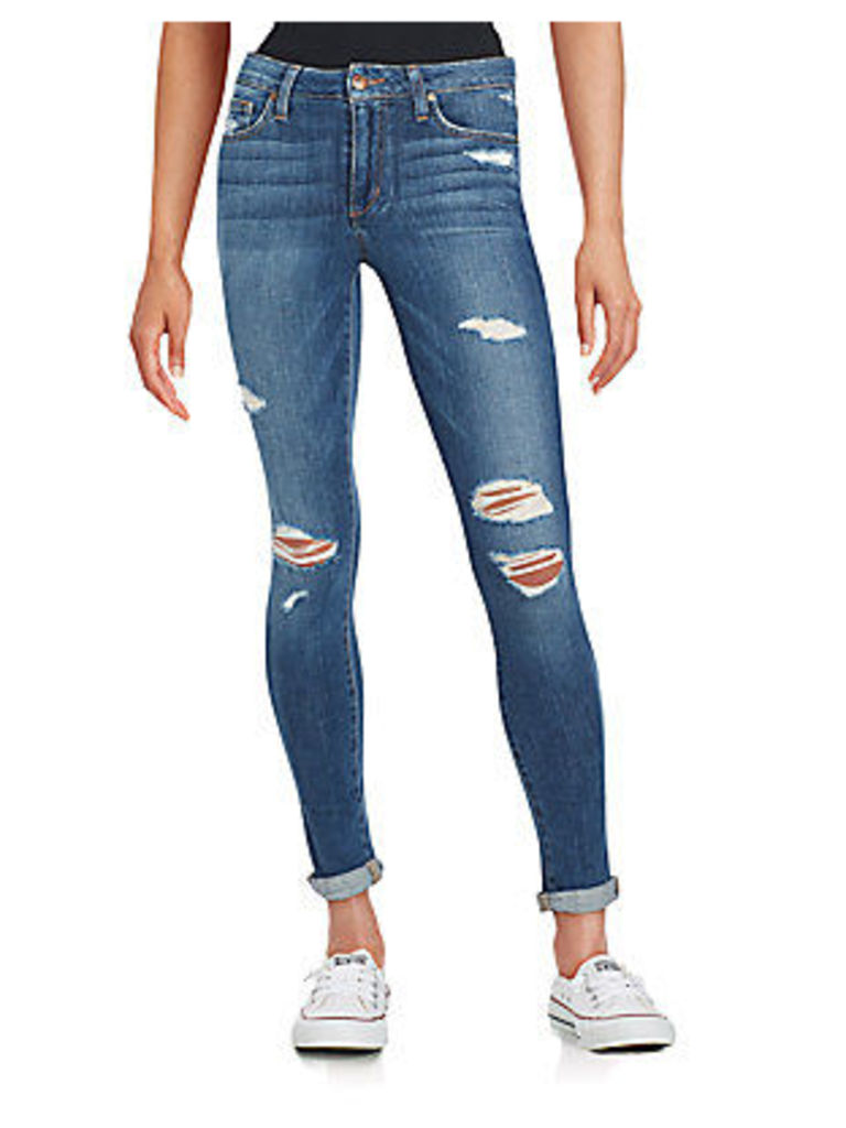 Beckett Distressed Rolled-Cuff Skinny Jeans