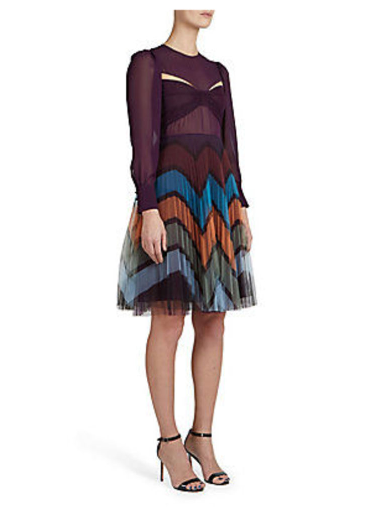Long-Sleeve Printed Tulle Dress