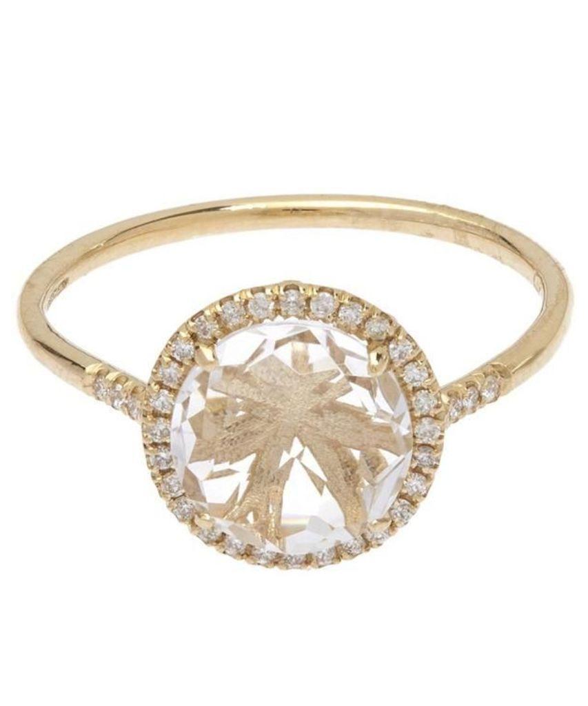 Gold White Diamond and White Topaz Ring