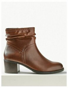 M&S Collection Wide Fit Leather Ruched Block Heel Ankle Boots