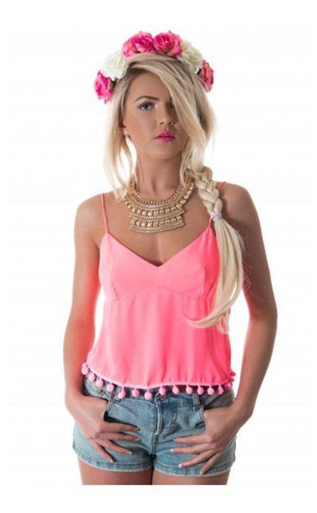 Siesta Pom Camisole Top In Pink