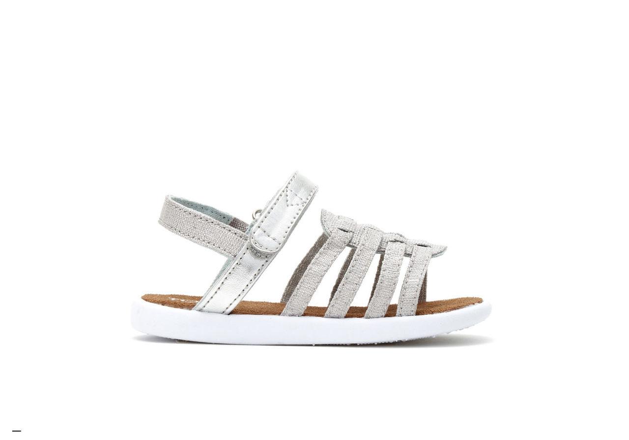 Silver Metallic Linen Tiny TOMS Huarache Sandals