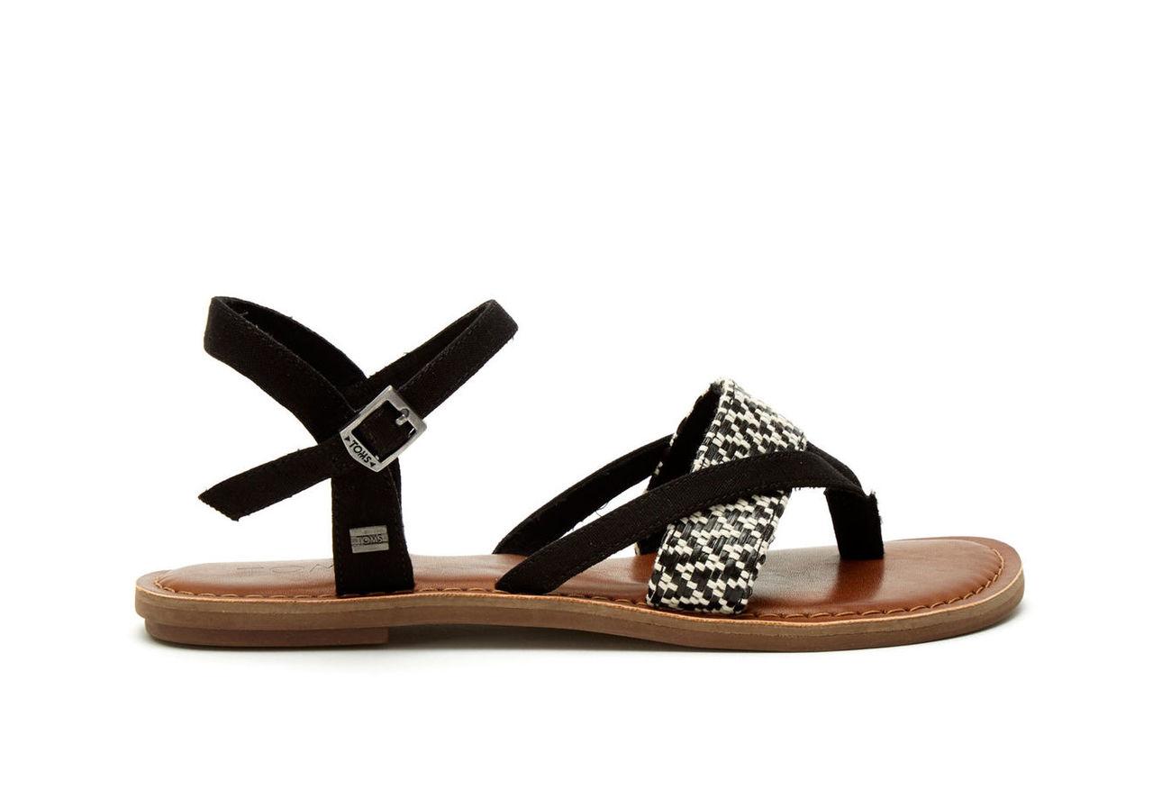 Black White Woven Women's Lexie Sandals