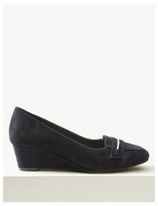 M&S Collection Wide Fit Suede Wedge Heel Court Shoes