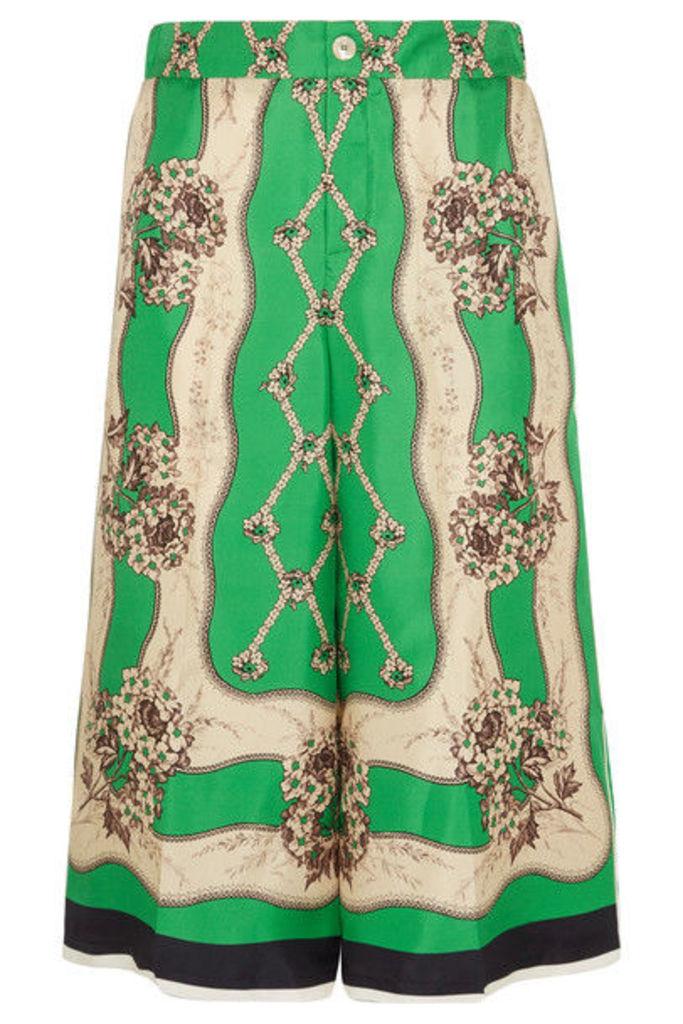 Gucci - Printed Silk-twill Wide-leg Pants - Light green