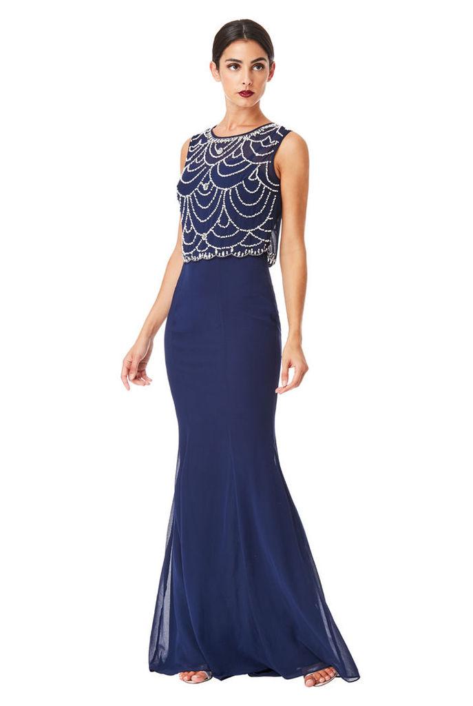 Embellished Chiffon Maxi Dress - Navy