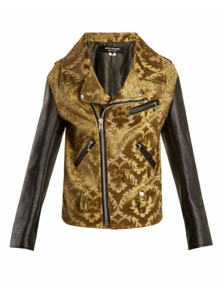 Junya Watanabe - Floral Jacquard Contrast Sleeve Jacket - Womens - Khaki Multi