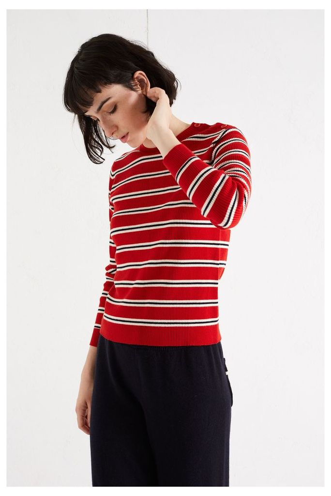 EXCLUSIVE Red Breton Ribbed Sweater