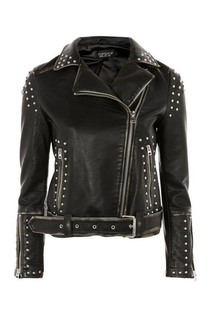 Womens Studded Biker Jacket - Black, Black