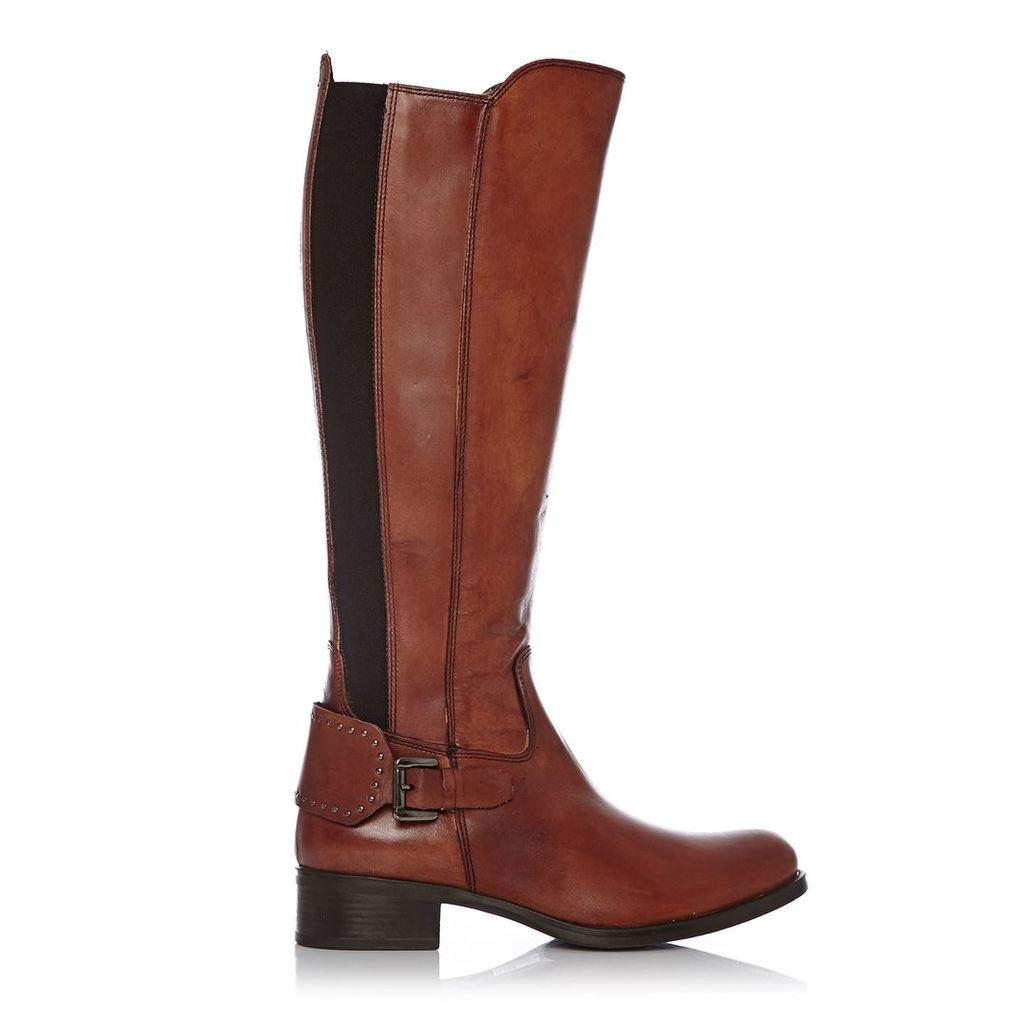 Moda in Pelle Scarlottan Tan Low Smart Long Boots