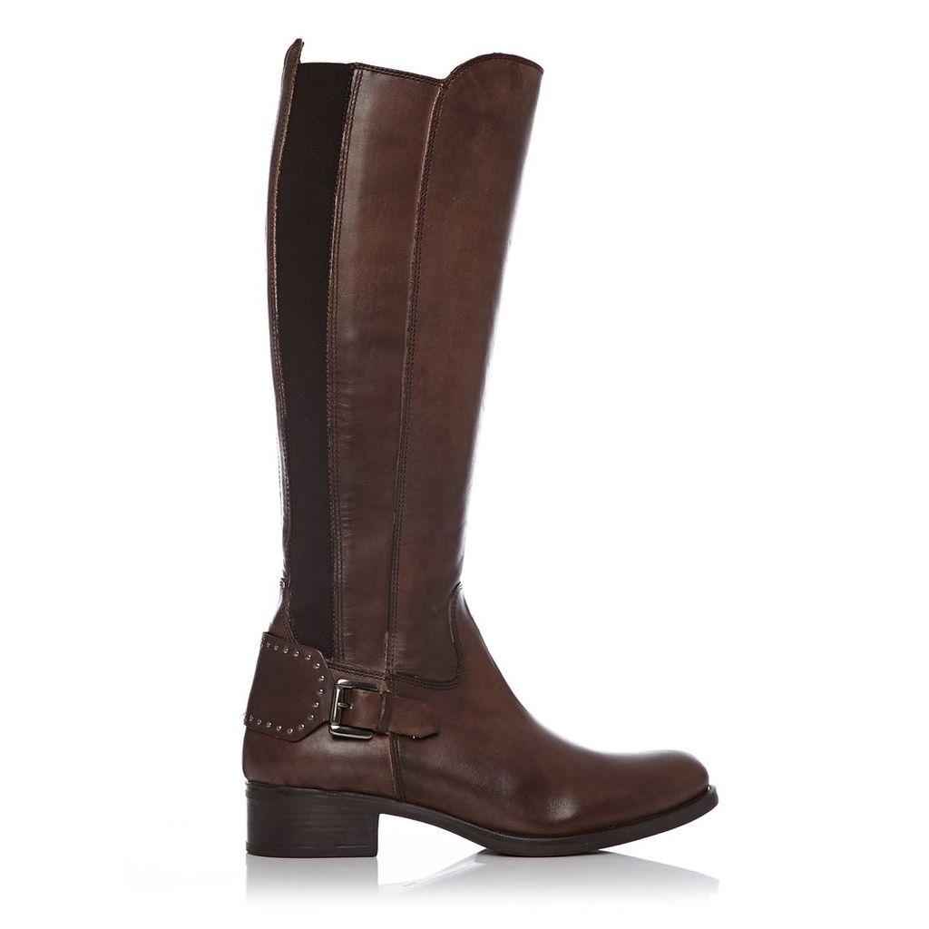 Moda in Pelle Scarlottan Brown Low Smart Long Boots