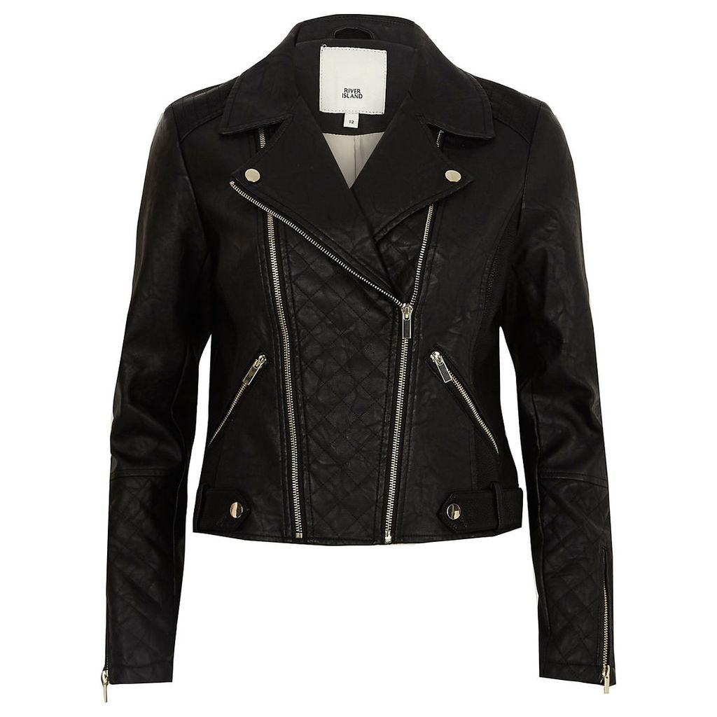 Womens Black quilted faux leather biker jacket