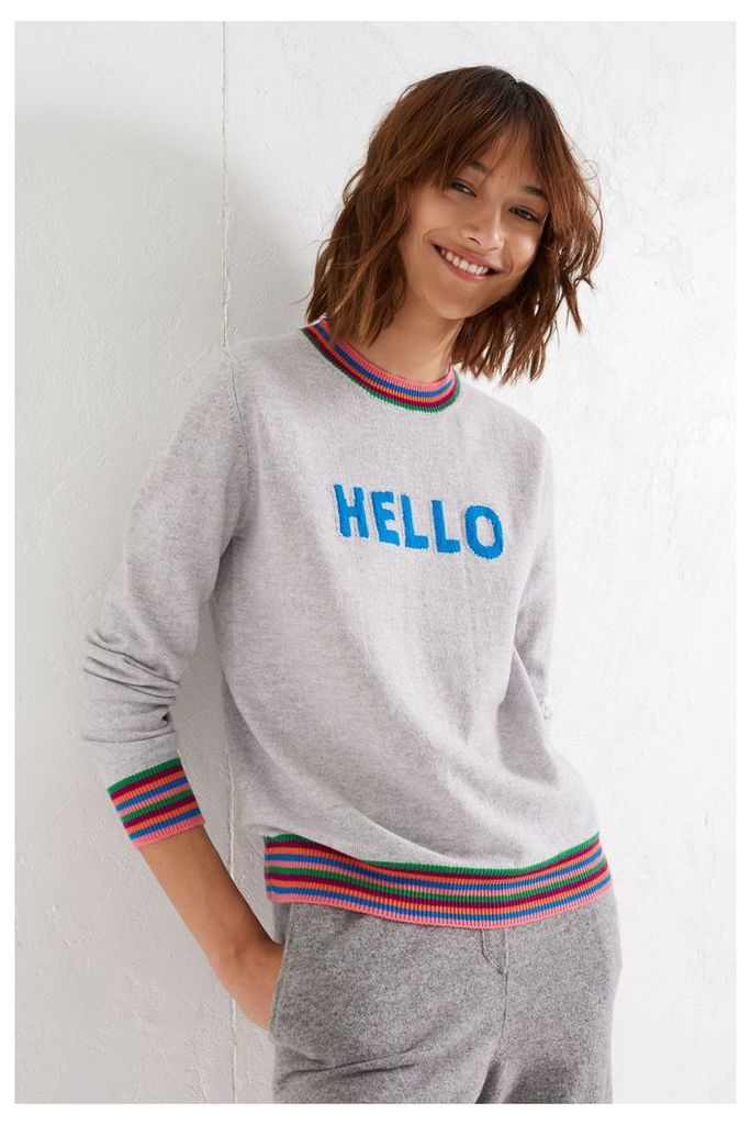 NEW EXCLUSIVE Silver Marl Hello Cashmere Sweater