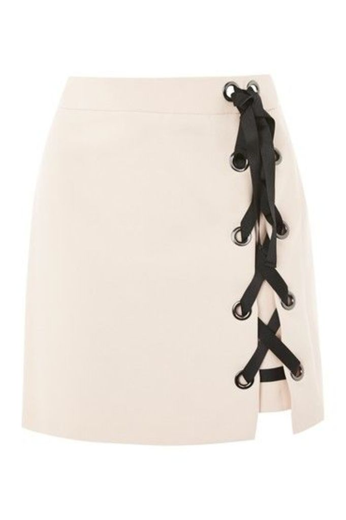 Womens PETITE Eyelet Ribbon Mini Skirt - Nude, Nude