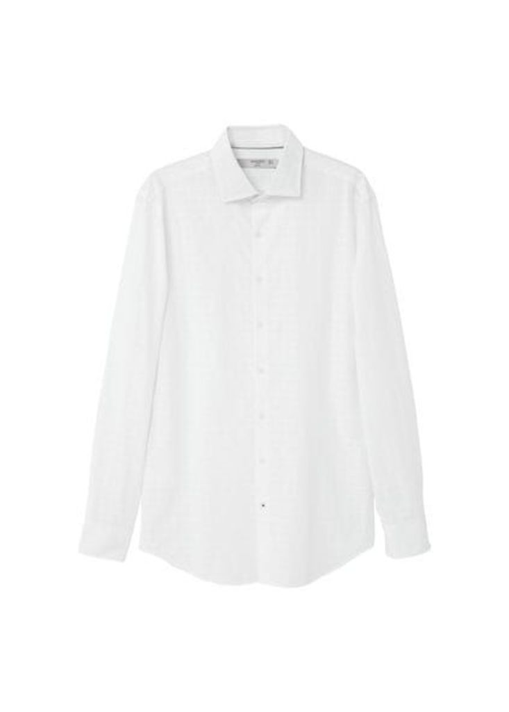 Slim-fit structured check shirt