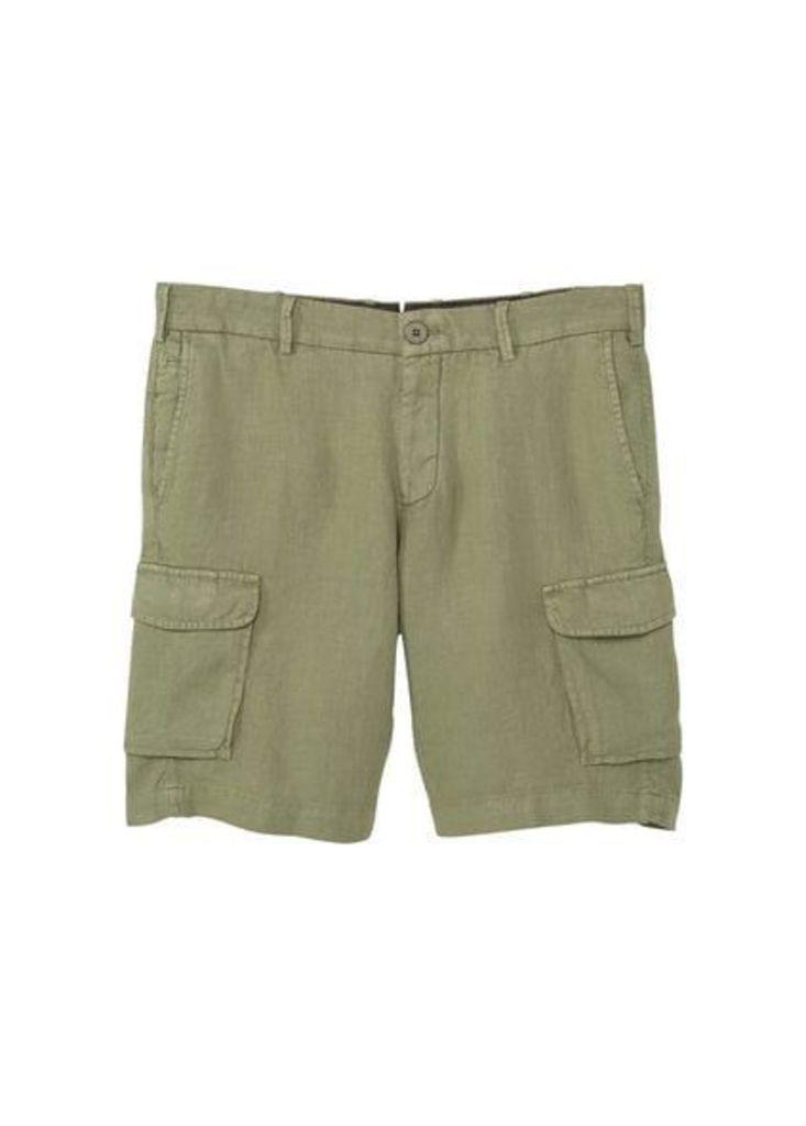 Cargo pockets linen bermuda shorts