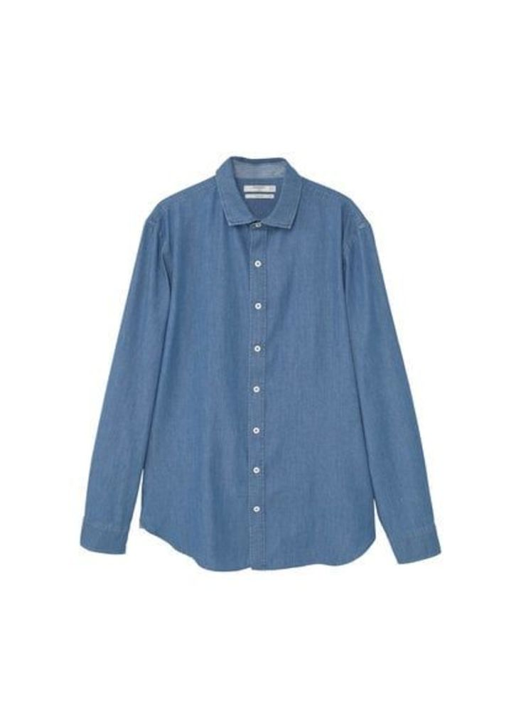 Slim-fit structured chambray shirt