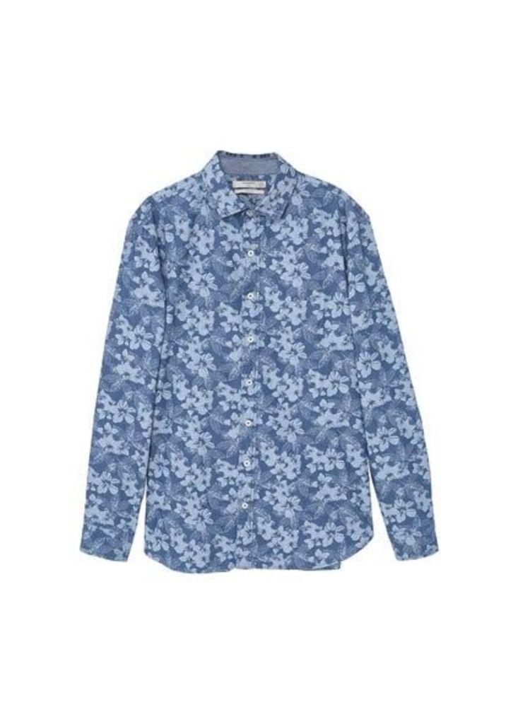 Slim-fit floral-print chambray shirt