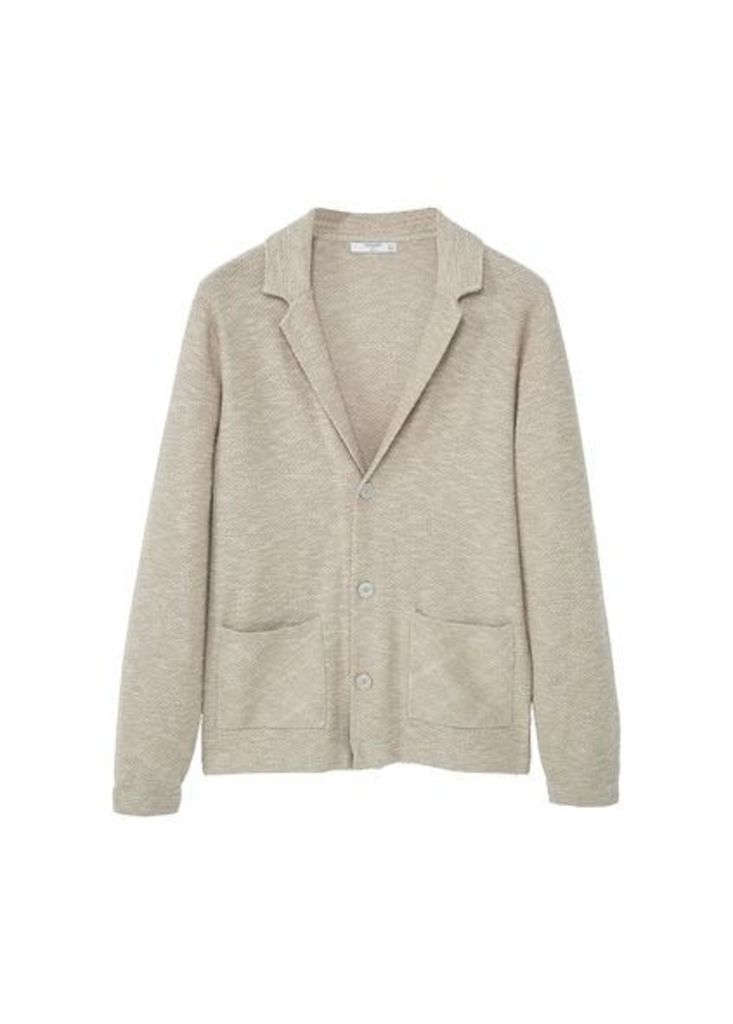 Lapel cotton cardigan