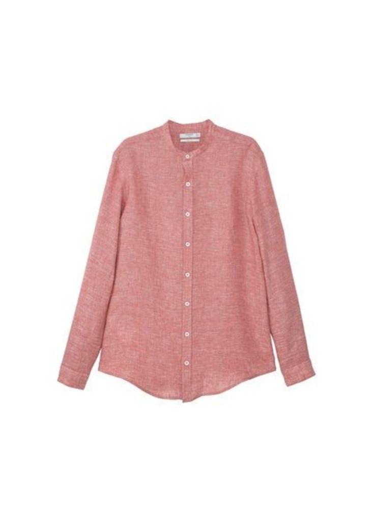 Slim-fit mao collar linen shirt