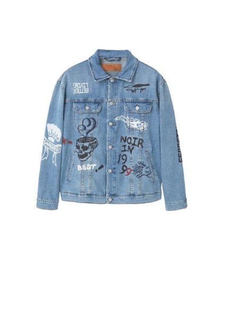 Printed light denim jacket