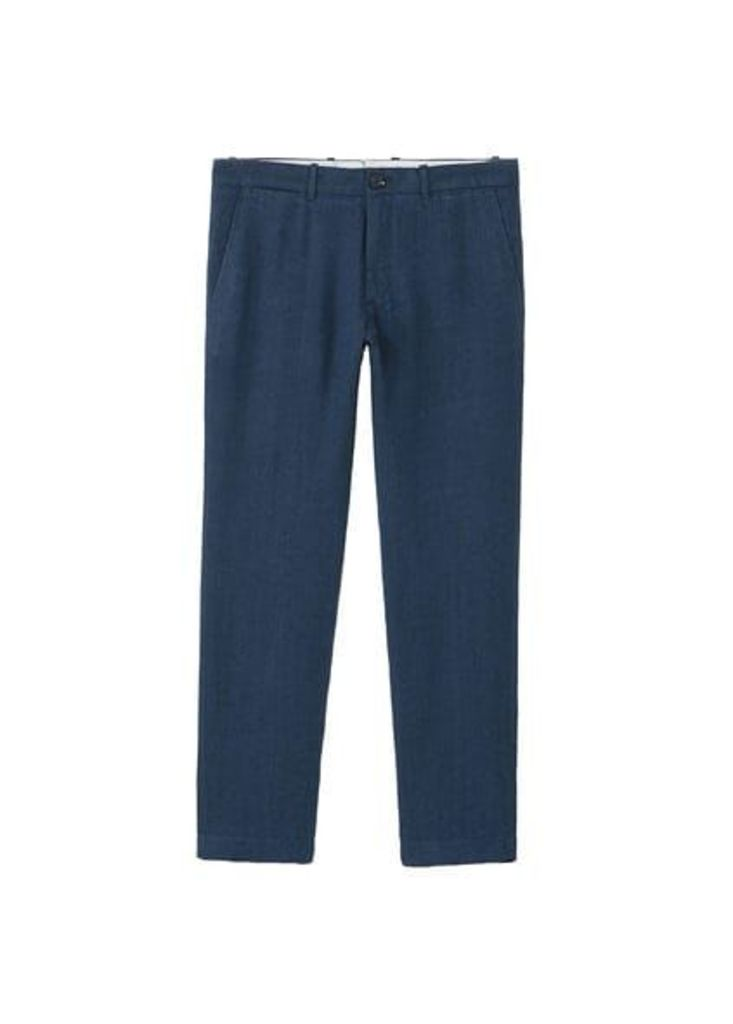 Herringbone-pattern linen trousers
