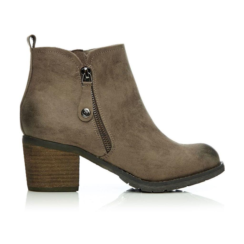 Moda in Pelle Brunildi Taupe Medium Casual Short Boots