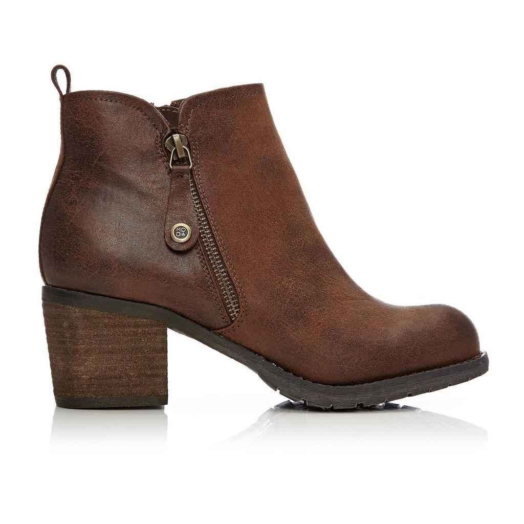 Moda in Pelle Brunildi Tan Medium Casual Short Boots