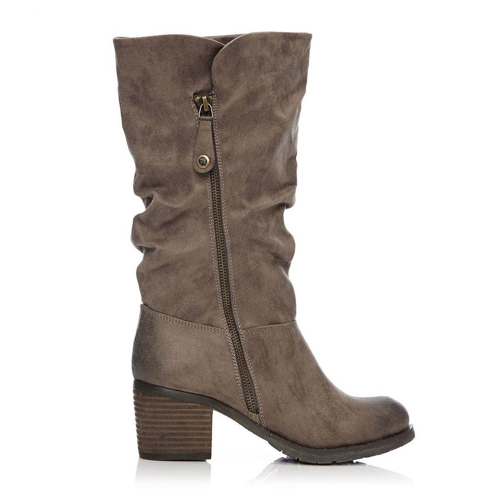 Moda in Pelle Granelli Dark Taupe Medium Casual Long Boots