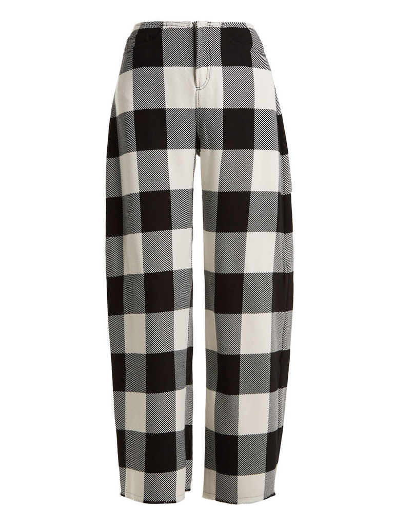 High-rise wide-leg checked wool trousers