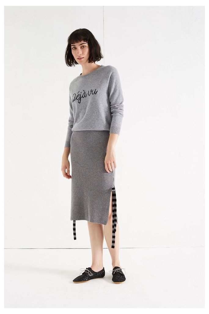 NEW Grey Ribbed Side Bow Skirt