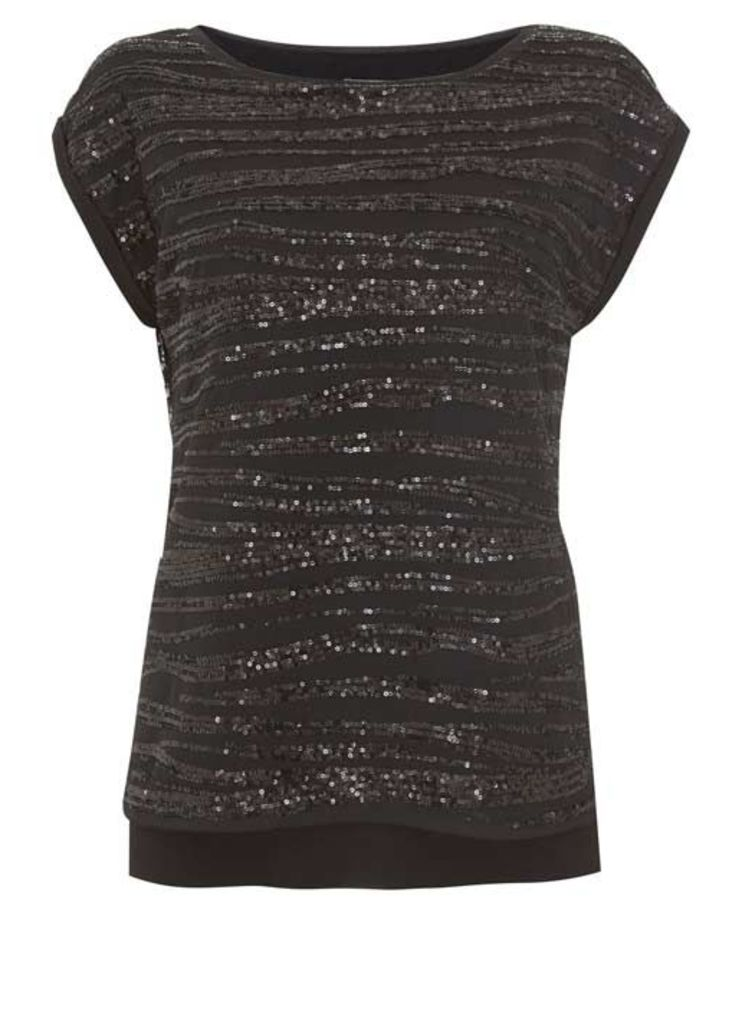 Black Linear Sequin Tee