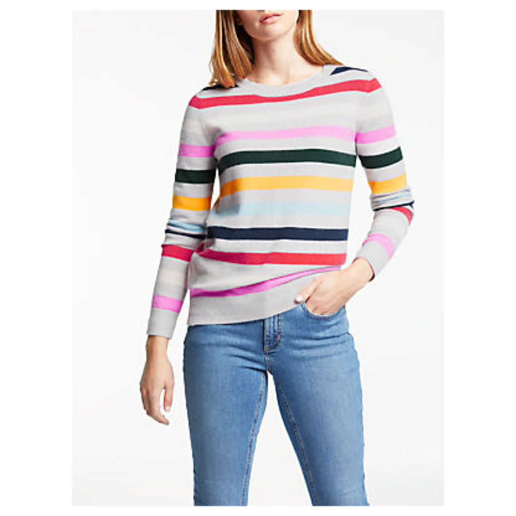 Boden Cashmere Striped Crew Neck Jumper, Silver Melange Stripe