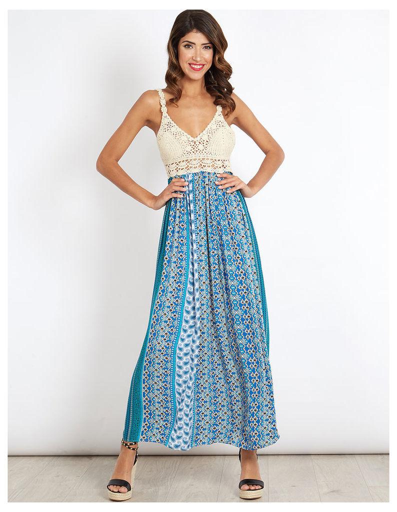 ANITA - Crochet & Print Mix Maxi Turquoise Dress