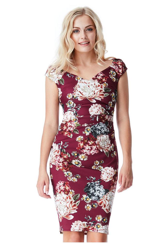 Floral Print Midi Dress with Pleating Detail - Wineprint