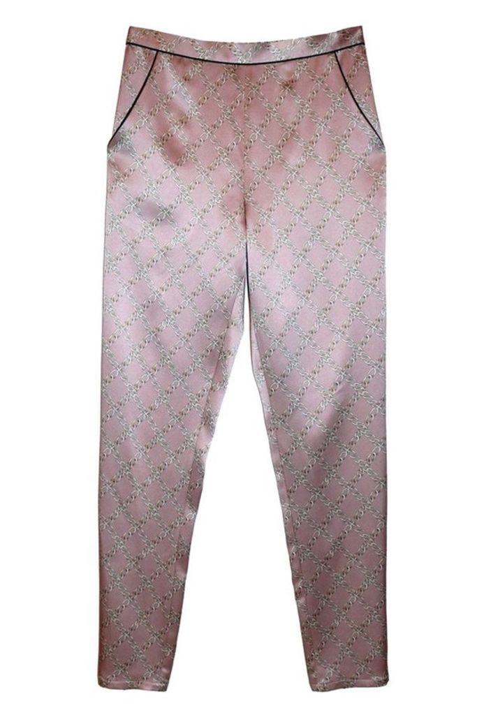 Contrast Back Seam Pajama Pants Rose Chain
