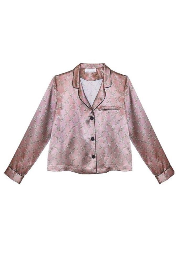 Long Sleeve Pajama Top Rose Chain