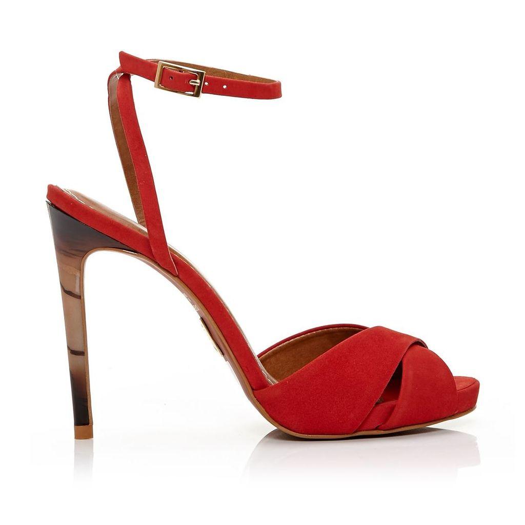 Moda in Pelle Romana Red Very High Smart Sandals
