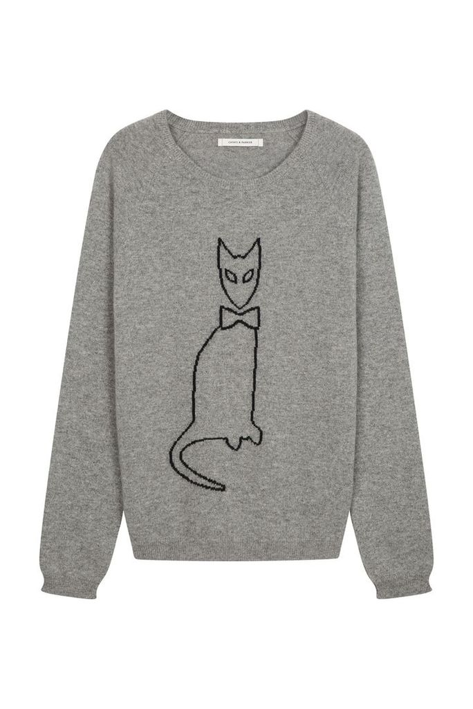 NEW Grey Cat Outline Cashmere Sweater