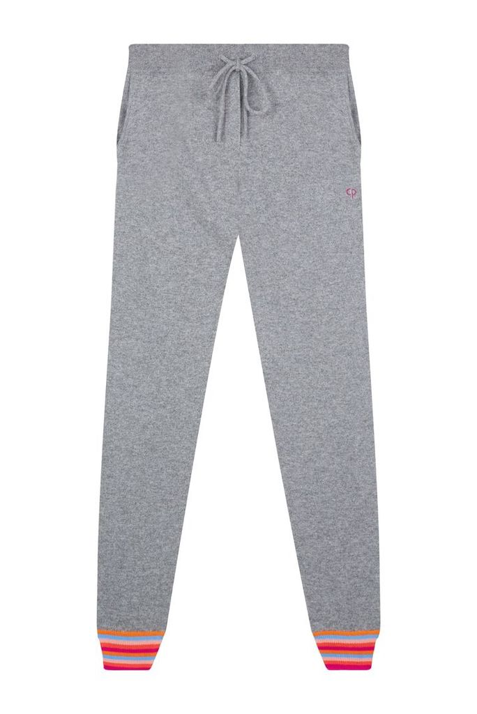 NEW EXCLUSIVE Grey Stripe Cuff Track Cashmere Pants