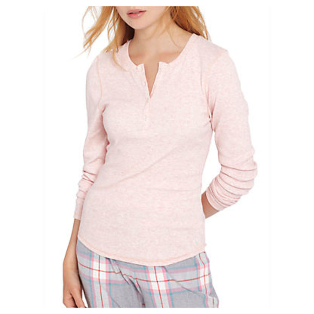 Joules Dormi Long Sleeve Ribbed Henley Top, Pink