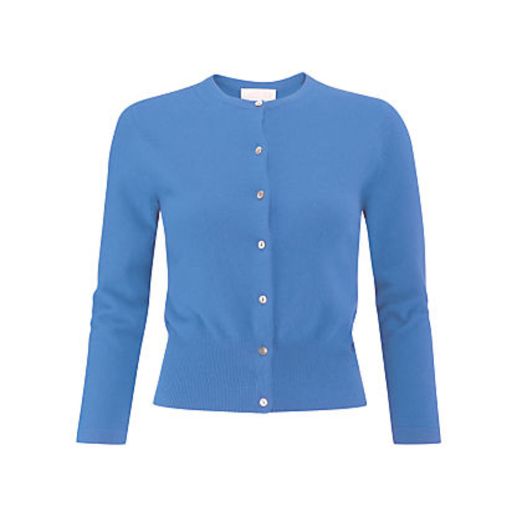 Pure Collection Crop Cashmere Cardigan, Cornflower Blue