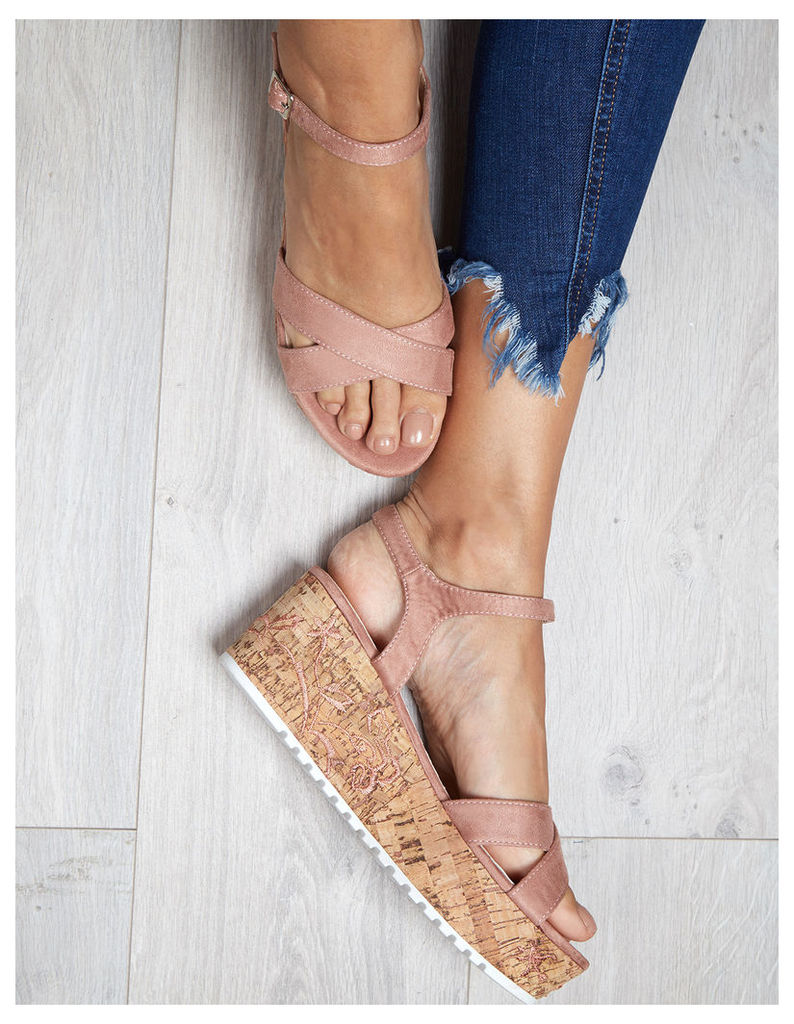 ARIANA - Embroidery Cross Strap Wedges Pink