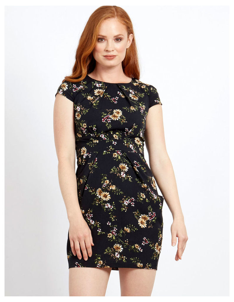ALINA - Floral Tie Back Tulip Black Dress