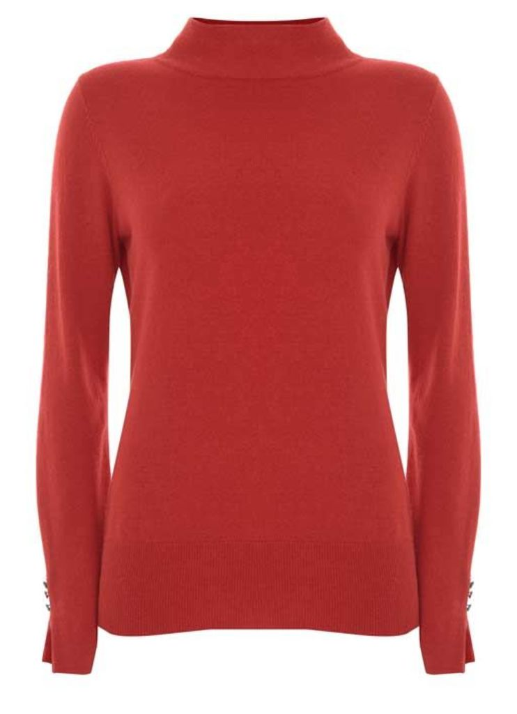 Red Funnel Neck Fitted Knit