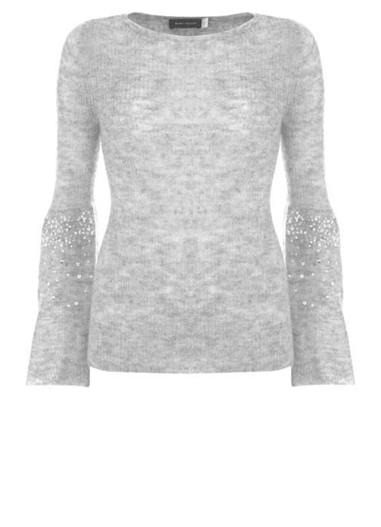 Silver Grey Sequin Sleeve Knit