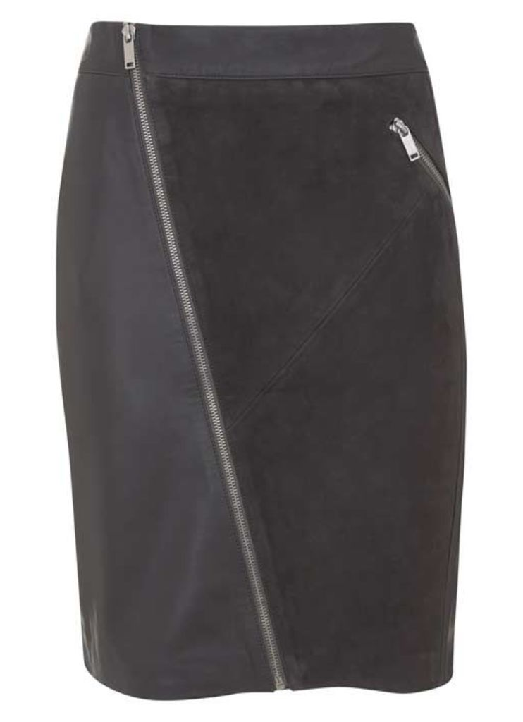 Smoke Leather & Suede Pencil Skirt