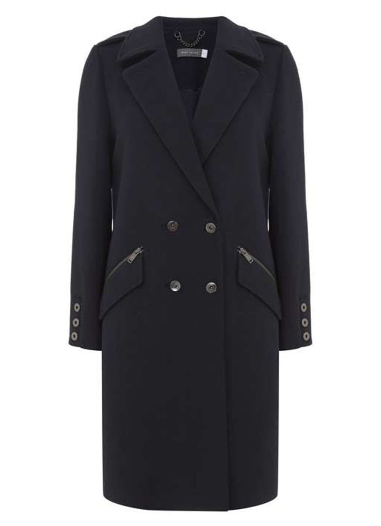 Navy Military Button Detail Coat