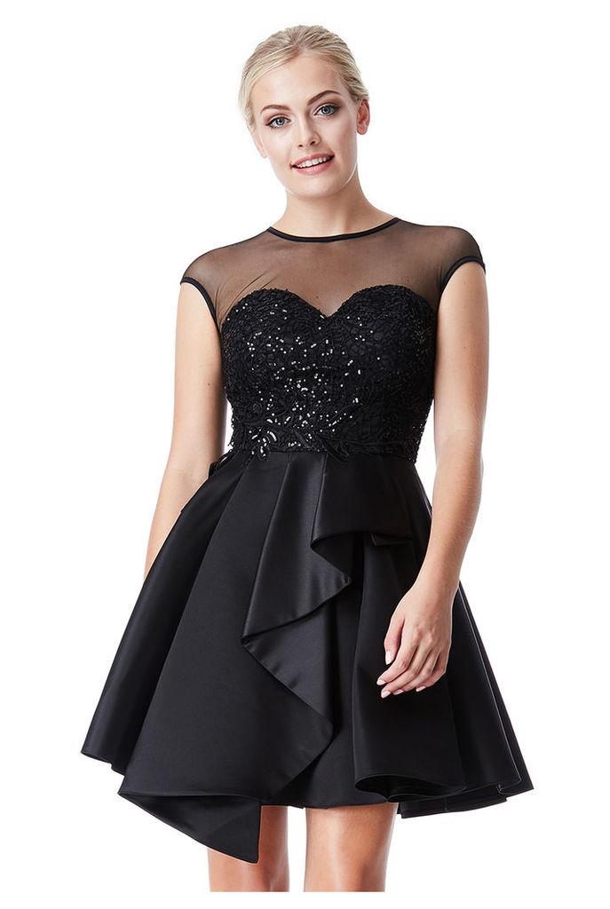 Embroidered Full Skirt Skater Dress - Black