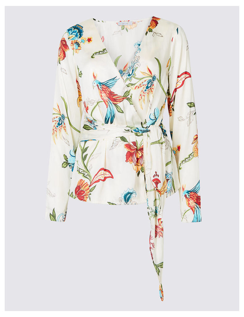 Per Una Printed Satin V-Neck Long Sleeve Blouse